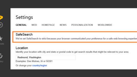 Bing attiva il sistema SafeSearch per i minori