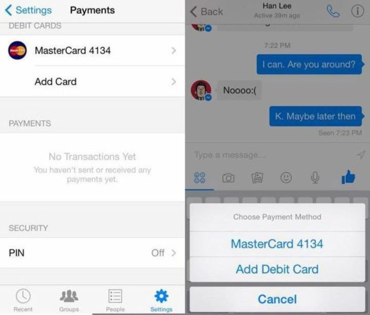 La schermata per aggiungere la carta di debito