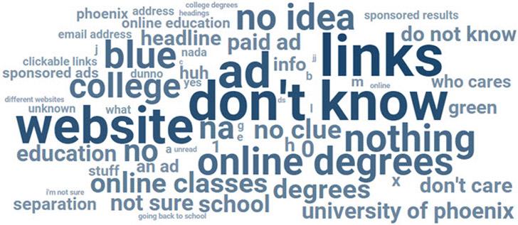 La nuvola delle risposte al sondaggio con ADS
