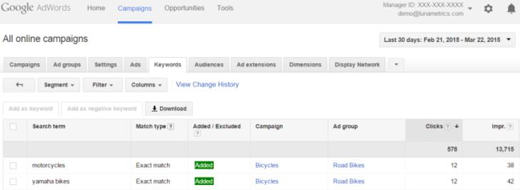 Agenzia Pay per click: report termini di ricerca su Google Adwords