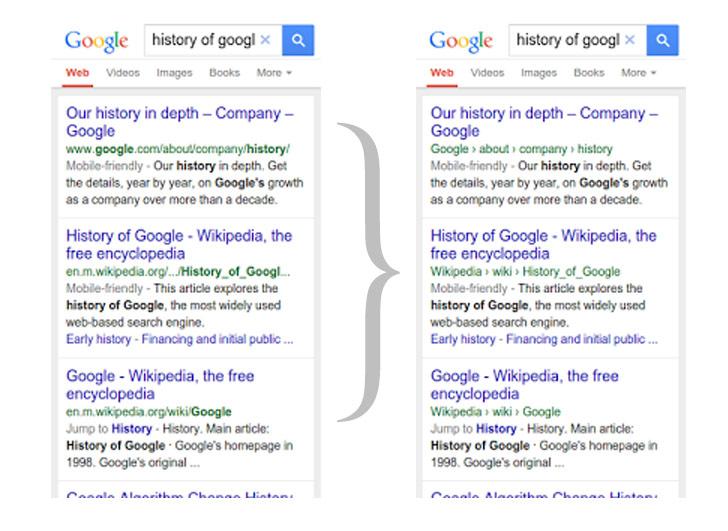 URL ricerche mobile: prima e dopo il cambiento